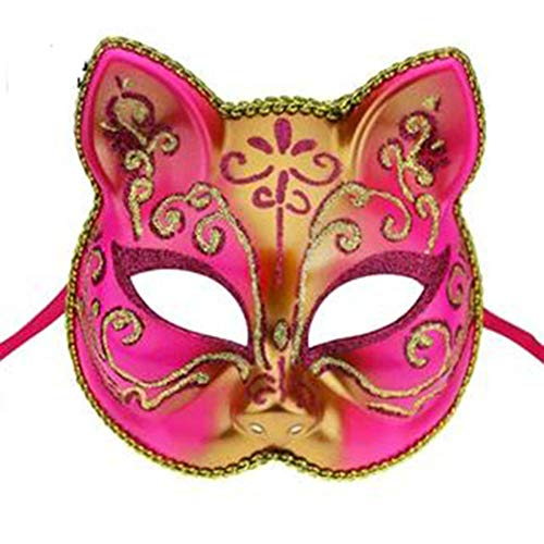 Hlzf Comet Man Maske Cat Face Dress up Maske Catwoman Halloween Maskerade Party Schleier,Pink