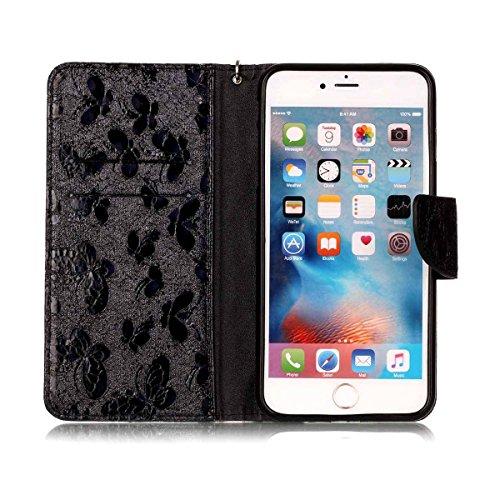 """MOONCASE iPhone 6 Plus/iPhone 6s Plus Flip Cover, [Butterfly Pattern] Leder Handyhülle Built-in Ständer TPU Stoßfest Schutz-tasche Case für iPhone 6 Plus/iPhone 6s Plus 5.5"""" Golden Schwarz"""
