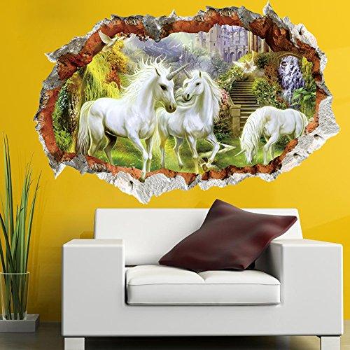 Etiqueta engomada de la pared del unicornio Muchachas de los muchachos del cuento de hadas de los muchachos del color del dormitorio 3D rotos Mural removible calcomanía de la decoración casera