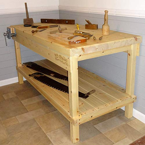 Werkbank aus Holz, 0,7 m - 2,1 m, 69 mm dicke Oberseite, Size=1.4m x 0.58m £526, Vice=No vice, 1