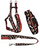 Ein Set - Halsband, Hundegeschirr Step-In, Hundeleine - verstellbar, Zugentlastung, stabil, bequem, weich, Farbe Braun - TX-ZOO/Zd-BROWN
