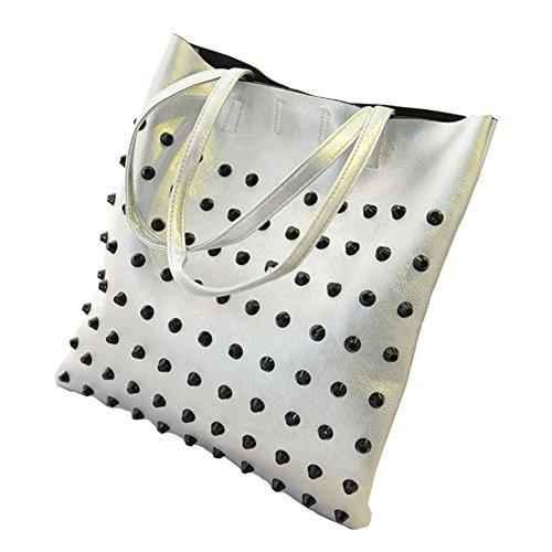 GSPStyle Damen Schultertasche Punk Stil Handtasche Riveting Totes Tasche Shopper Silbrig