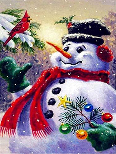 ZYME Malen mit Diamant Weihnachten Diamant Malen voller Quadrat Cartoon DIY Diamant Stickerei Schneemann Bild Strass 40x30cm - Einen Wie Schneemann Man