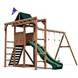 Dunster House MonkeyFort Woodland Wooden Children's Outdoor Climbing Frame Play Tower with Monkey Bars, Swings & Slide - Pressure Treated Timber