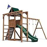Monkey Bar Climbing Frame Garden Playhouse Slide Swing Set - Dunster House® MonkeyFort® Woodland