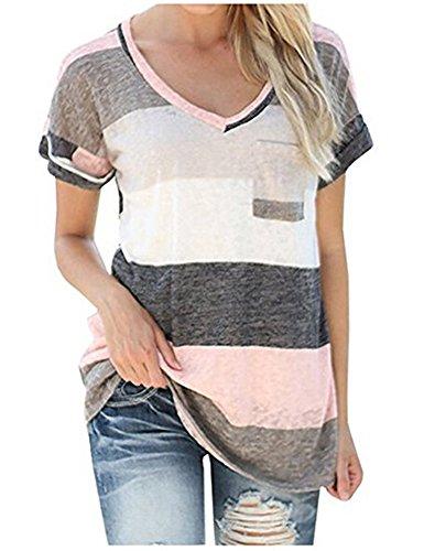 LAEMILIA Damen T-Shirt Sommer Kurzarm Streifen Tops V-Neck Oberteil Mode Weich Bluse Loose Casual