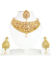 Necklace By Rudra Style Gold Plated Traditional Nacklace Set With Matching Earrings & Maang Tikka For Women And...