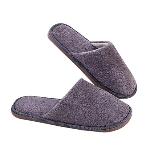Lanlan Pantofole suola antiscivolo invernali da uomo, morbide e lunghe in peluche Articoli per la casa Grigio