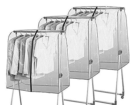 Mabi 3-310 Universal Reißverschluss-Abdeckhauben 3er Set (L97 x H118 x B53 cm) für Kleiderwagen Konfektionsständer Garderobenständer Rollständer & (Schutzhülle Für Kleiderständer)