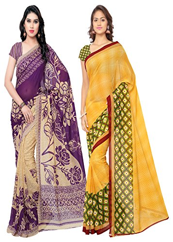 ANAND SAREES MULTI COLORED GEORGETTE PRINTED SAREES (COMBO PACK)  available at amazon for Rs.549