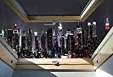 New York Skyline Der Stadt In Der Nacht 3D-Dachfenster-Ansicht Vlies Fototapete Fotomural - Wandbild - Tapete - 416cm x 290cm / 4 Teilig - Gedrückt auf 130gsm Vlies - 10417VEXXXXL - New York Test