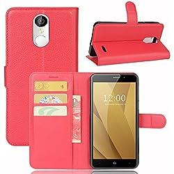 Guran® Housse en Cuir PU pour Acer Liquid Zest plus Smartphone Flip Cover Étui Portefeuille et Fonction Stent Cas-rouge