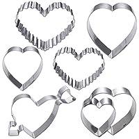 BESTONZON - Molde para galletas con forma de corazón de acero inoxidable, antiadherente y resistente