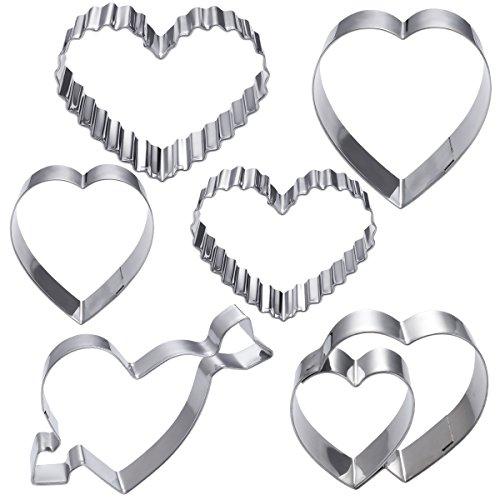 OUNONA 6 unids acero inoxidable cortador de galletas conjunto antiadherente amor en forma de corazón diy moldes de chocolate molde para hornear para el día de san valentín