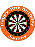 "7.5"" Darts Birthday Cake Toppers Personalised and Decorated on Edible Wafer Rice Paper - [Please use the 'Contact Seller' link to send us your personalised message for your topper.]"