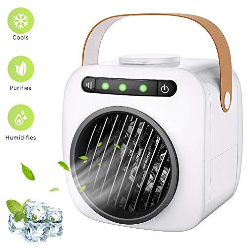 Cooler 3 in 1 Mobil Klimagerät Luftbefeuchter, Luftreiniger mit 3 Lüftergeschwindigkeiten und USB-Aufladung für Reisen im Büro zu Hause ()