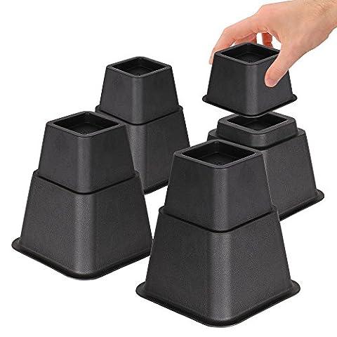 Duracasa réglable rehausseurs de lit ou meuble Riser en Sommets de 8, 5ou 7,6cm Heavy Duty Lot de 4