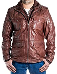 e0802085ef9b4 Uomo marrone vera Pelle giacca trapuntata aderente Abbigliamento elegante  lungo Safari