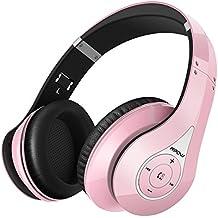 Mpow 059 Auriculares Inalámbricos de Diadema , Cascos Bluetooth Plegable con Micrófono Manos Libres y Hi-Fi Sonido Estéreo 20hrs Reproducción de Música Orejeras Memoria Suave para TV PC Movil, Rosa