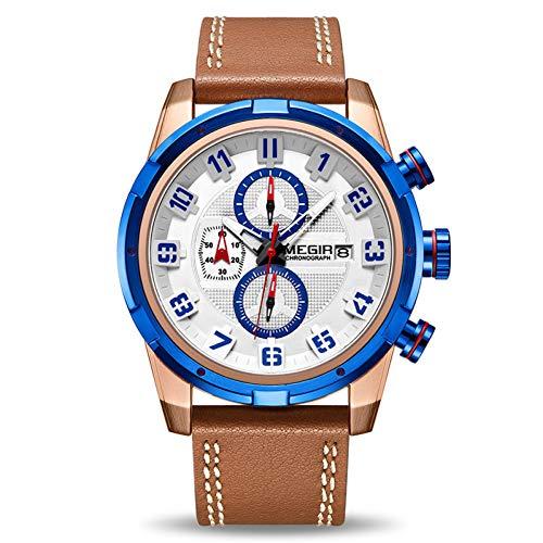 SBDONGJX Creative Chronographe Montre De Sport Hommes Horloge en Cuir Quartz Hommes Montres-Bracelets Heure Heure Armée Militaires Montres Relogios