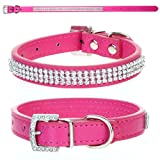 CellDeal Dog Cat Pet Puppy Collar Luxury Diamante Band Rhinestone Crystal Bling PU Leather 10 Colors 3 Size (rose pink, Medium(diameter 11-14cm))