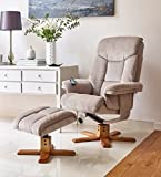 The Exmouth - Fabric Massage Swivel Recliner Chair in Mink
