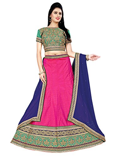 Lehenga (Vastrang\'s Beautiful Pink & Green Color Designer Embroidered Lehenga Choli for Women)