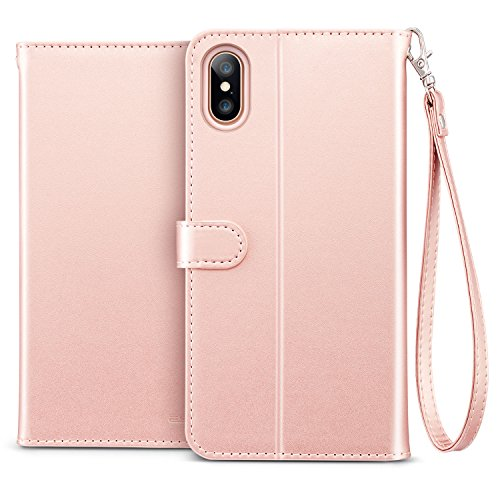ESR iPhone X Hülle [Kabelloses Aufladen Unterstützung], Premium PU Leder Klapphülle mit Kartenfach, Vorne und Hinten Schutzhülle für Apple iPhone X / iPhone 10 5.8 Zoll 2017 Freigegeben. (Blau & Grau) Rose Gold