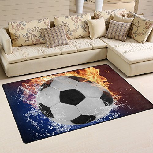 Naanle palla da calcio tappeto antiscivolo per per camera da letto, soggiorno, cucina 50x 80cm (1.7'x 2.6' ft), sport nursery tappeto pavimento tappetino yoga, multi, 100 x 150 cm(3' x 5')