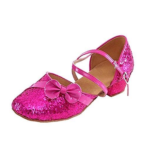 nzessin Tanzschuhe Kostüm Spiel Performanced Latin Dance Schuhe, 37/Rose Rot (Latin Dance Kostüme Kinder)