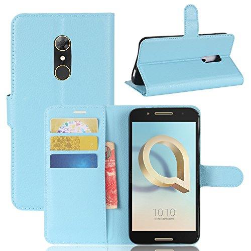 GARITANE Alcatel A7 Hülle Case Brieftasche mit Kartenfächer Handyhülle Schutzhülle Lederhülle Standerfunktion Magnet für Alcatel A7 (Blau)