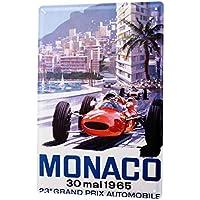 Cartel Letrero de Chapa Nostalgic Retro Coche Gran Premio de Mónaco de 1965