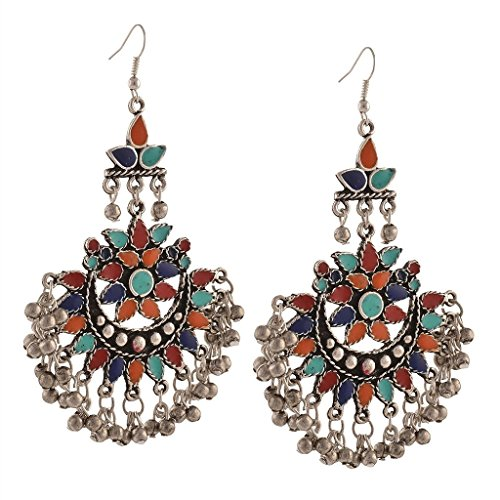 DS Multicolour German Silver with Meenakari Afghani Earrings Hook Chandbalis Dangle and Drops Tribal Jewellery for Girls and Women(DS300)