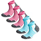 5 Pairs More Mile New York Cushioned Coolmax Sports Running Socks (5.5-8 UK / 38-42 EU, 3xPink/2xLight Blue)