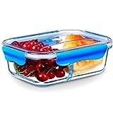 SELEWARE Frischhaltedosen Glas Lunchbox 100% bpa Frei Luftdicht Auslaufsicher mit 2 fächern Ofen Mikrowellengeeignet sicher für Gefrierschrank und Spülmaschine (1,52 Liter, Rechteck, Blau)