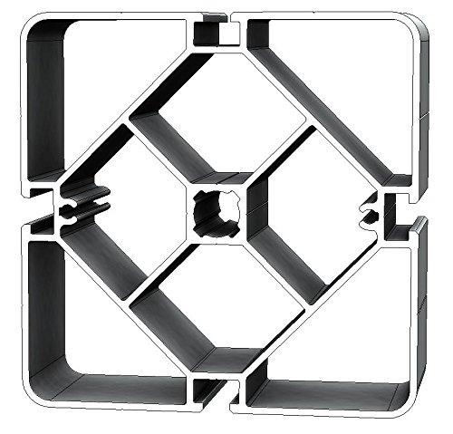Aluminium T-Nuten Ständerprofil PS125, vierkant, 2 Stangen, 3m/Stange