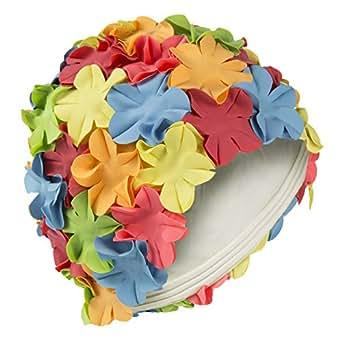 Bonnet de bain pour femme à pétales de fleurs, style vintage, multicolore
