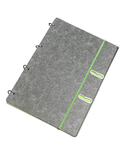 Ringbuch 360° - maigrün | A4 | 50 Blatt kariert | 4-Ring Notizbuch mit Gummiband und Taschen, flexibel + nachfüllbar, maigrün - Schreibgefühl®
