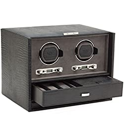 Wolf Blake Double 2.7 Automated Mechanical Lockable Watch Winder - Black Lizard