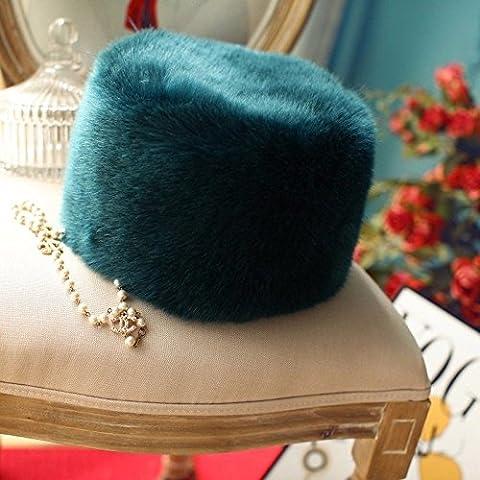 ZHANGYONG*Las mujeres Faux Fur Hat estilo ruso Gorro de invierno esquí Desgaste cabeza tapa azul pavo