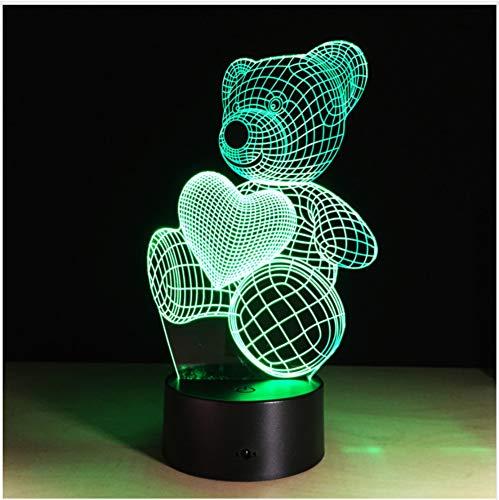 3D Farbwechsel Stimmung Lampe Tier Niedlichen Teddybär Bulbing Licht Usb Love Bear Leuchtende Puppe Schöne Geschenke Für Kinder Freunde Mädchen Touch-Schalter -