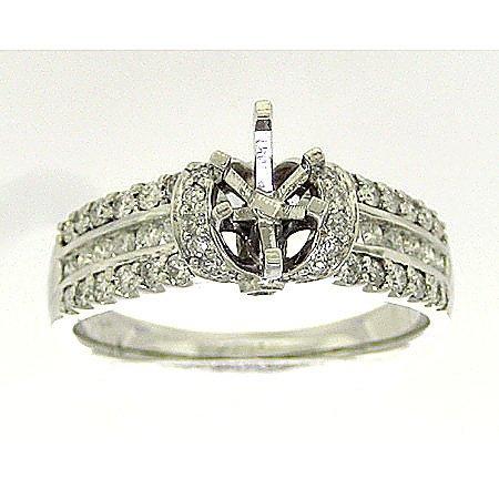 Diamanti 0,54ct Diamante Rotondo con Marquise Testa Semi-mount Anello Sposa r31250/w-sm taglia o
