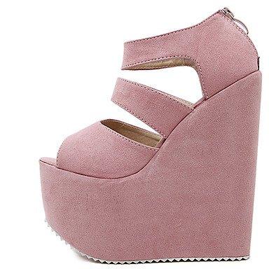 LvYuan Damen-Sandalen-Kleid-Vlies-Keilabsatz-Andere-Schwarz Rosa Pink