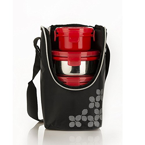 Cello Max Fresh Click Steel Lunch Box, 4-Containers, Red