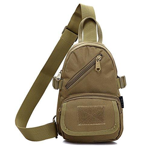 emansmoer Camo Armee Brusttasche Sling Bag Umhängetasche Crossbody Rucksack Outdoor Schultertasche Casual Daypack (Camo) Braun