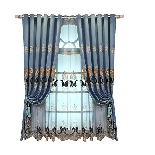 DULPLAY Luxuriös Fenstervorhänge,Blackout vorhänge,Thermisch isolierte vorhänge Tülle Satz 1 paneele Blackout-Zimmer abdunkeln Für Wohnzimmer -A W270xL270cm(W106xL106inch)