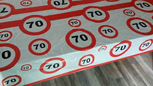 Sachsen Versand 70 igster Geburtstag-Feier-abwaschbare Party-Feier-Tisch-Decke-Deko-Idee (Geschirr 70. Geburtstag)