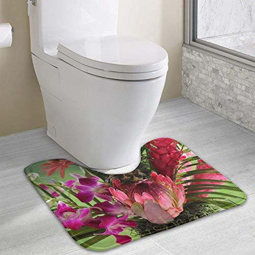 Red Pineapple Blossom Contour Bath Rug, U-Shaped Polyester Toilet Floor Mat Non Slip Bathroom Shower Carpet - Pineapple Blossom