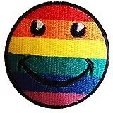Arco iris sonriente sonriente del arco iris Paz Amor Felicidad Patch Kids '7 x 7 cm' - Parche Parches Termoadhesivos Parche Bordado Parches Bordados Parches Para La Ropa Parches La Ropa Termoadhesivo Apliques Iron on Patch Iron-On Apliques
