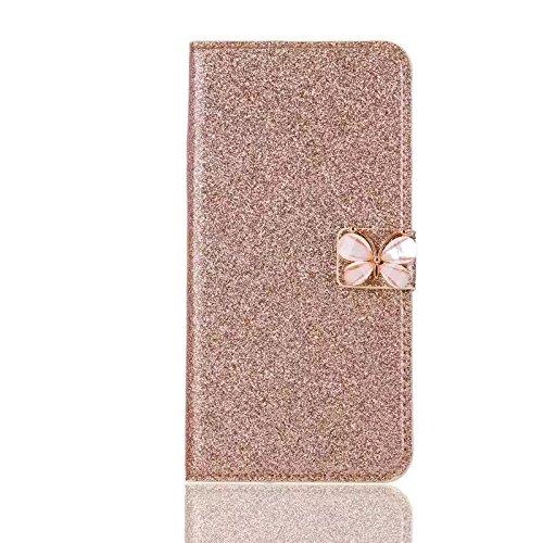 Custodia per iPhone X 5.8 Cover in Pelle Portafoglio, Funyye Lusso Bello Eleganza Diamante [Cristallo Bowknot] Design Flip Wallet Case Bello Scintillante PU Leather Shell Skin Bumper +1 x Free Screen #11 Oro